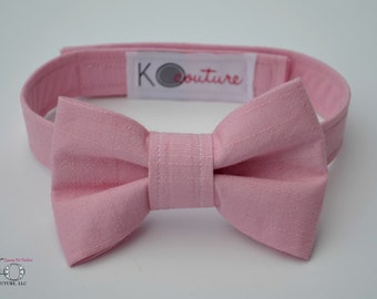 Dog Bow Tie - Pink Linen - Dog Wedding Bow Tie - Dog Wedding Outfit - Large Dog Clothes - Boy Dog Clothes - Dog Ring Bearer - Pink Bow Tie