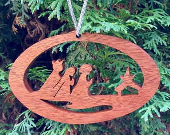 Christmas ornaments, Unique tree ornaments, Nativity tree ornaments, wooden tree ornament, Nativity ornament, reclaimed  scroll saw ornament