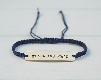 My Sun and Stars Sterling Silver or Brass and Macramé Bracelet, Choice Of Colours Available. Friendship Bracelet