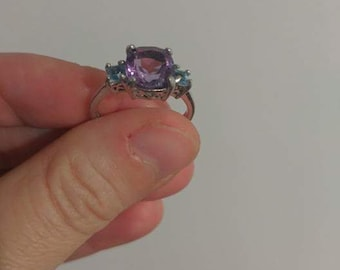 Free shipping USA Amethyst and blue topaz sterling silver ring