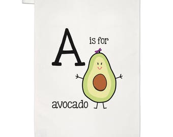 Letter A Is For Avocado Tea Towel Dish Cloth