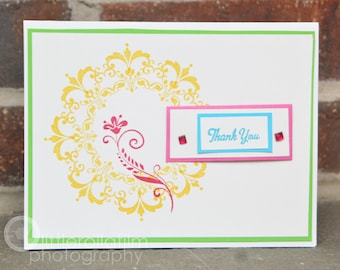 Floral Bright Colored Thank You Card