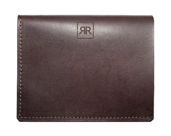 Brown Genuine Leather Handmade Billfold Wallet With Coin Pocket