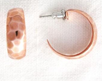 Hammered Copper Hoop Earrings, Post Style Copper Hoop Earrings, Solid Copper Jewelry