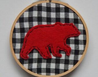 "4"" Bear Embroidery Hoop Ornament"