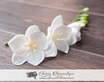 Hair stem White Freesia - Polymer Clay Flowers - Wedding Accessories