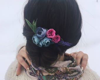 Floral hair comb bridal hairpiece lavender hair comb Bridal comb hairpiece Wedding hair comb Boho hair comb Christmas comb