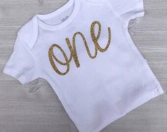First Birthday onesie, Birthday onesie, One Onesie, Customized birthday onesie, glitter first birthday onesie, gold onesie