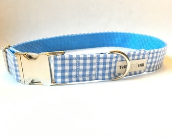 Blue Gingham Dog Collar - Green Plaid Dog Collar - Gingham Dog Collar - Preppy Boy Dog Collar -Preppy Girl Dog Collar - Blue Checker Collar