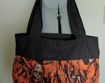 Large Zombie Print Shoulder Bag-Orange and Black