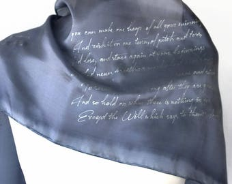 Kipling Quotes If Lyrics Literature Scarf literary bookish Gift for book lyric lovers Hand Painted READY to Ship more size color available