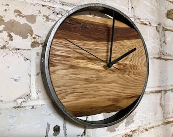 Industrial clock / Industrial wall clock / Oak clock / Wall clock / Industrial wooden clock / Wooden clock / Handmade clock