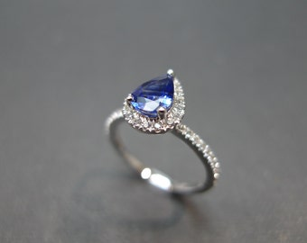 Diamond Ring Sapphire Rings Women Jewelry Pear Cut Blue Sapphire and White Sapphire Engagement Wedding Ring Band in 14K White Gold