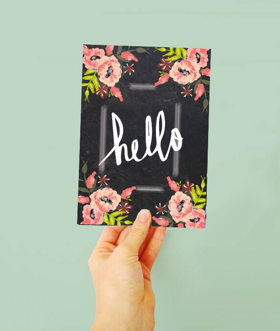 Hello! greetings card - Note card - Happy Hello - Card Just to say - Thinking of you flower card