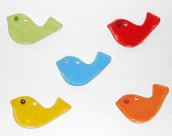 4 pcs Handmade Ceramic Birds 8*4.5cm - Clay Birds, Ceramic Doves, Wedding Favors, Baptism Favors, Home decoration, Bird Tiles - 5 Colors