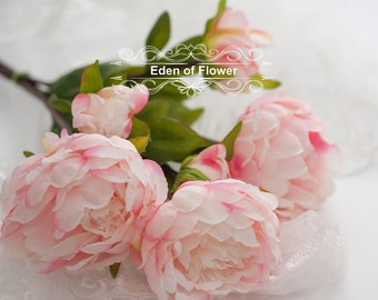 3 Pcs  Pink Silk Peony Flowers for Wedding Bridal Bouquets, Home Decoration, Centerpiece, Corsage, Wedding