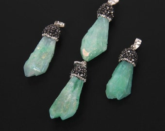 Titanium Green Crystal Point Necklace,Crystal Stone Pendant Necklace- Aura Crystal Pendant Pave Rhinestone Crystal Necklace