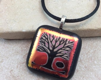 ON SALE Tree of Life Necklace, Tree Pendant, Orange Red Dichroic Pendant, Fused Glass Jewelry, Dichro Glass Jewelry, Dichroic Pendant - HEA4