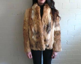 Light Brown/Multi Rabbit Fur Jacket