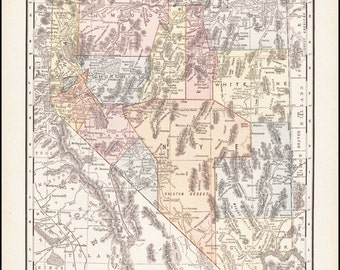 Nevada, Map of Nevada Counties, 1911 Antique & Colorful Illustrated 11x14 State Map (Reverse Side: Full-Page Utah Map) No. 101-102