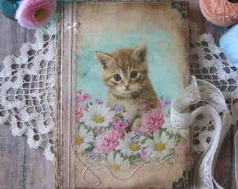 Kitten and flowers diary, journal, notebook, memory book, shabby chic diary, shabby chic journal, vintage diary, vintage journal, tagebuch