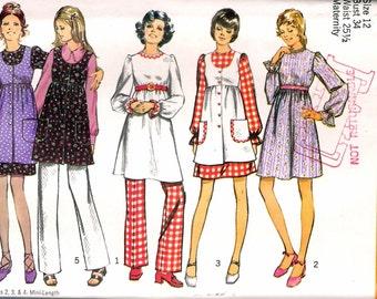 "Vintage 1971 Simplicity 9851 Maternity Mini Dress, Smock & Pants Sewing Pattern Size 12 Bust 34"" UNCUT"