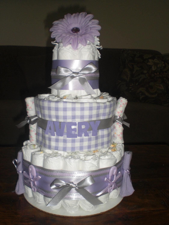 Purple Diaper Cake Baby Shower Centerpiece Girl Baby Shower