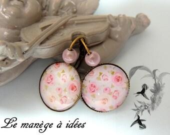 Earrings / Stud Earrings/Cabochon/Metal Bronze, romance, romantic.