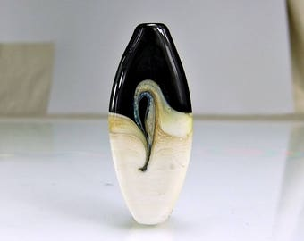 Black  Ivory Silver  Lampwork Focal Bead