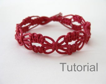 Macrame bracelet pattern - Red Lacy Macrame Bracelet Pattern - Macrame Bracelet Tutorial - Macrame Bracelet pdf