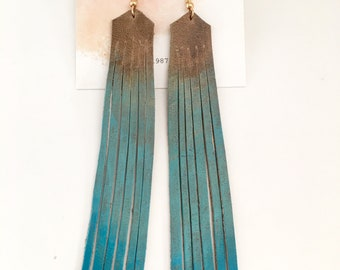 Marine Turquoise Ombre Leather Earrings