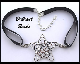 47mm Silver Star Stoma Cover Necklace, Laryngectomy Cover Necklace, Tracheostomy Cover Necklace