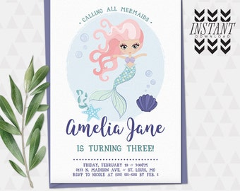 Mermaid Invitation Template • Instant Download PDF Template • Mermaid Girls Kids Party Birthday Printable Invitation PDF Template