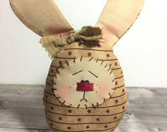 Candy Door Bunny, Country Easter Bunny, rabbit with pencil holder jar, pen holder, Chocolate Bunny