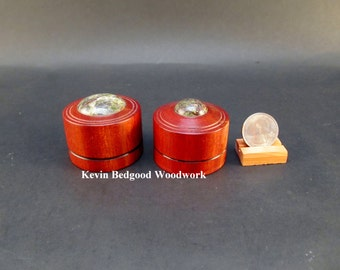 Box Lidded Container Wedding Ring Bloodwood with Jasper insets, jewelry stash