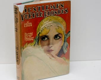"""Illustrated Book """"Gentleman Prefer Blondes"""",  photoplay edition, c.1929,  Ill. by Ralph Barton, RARE photoplay original dust jacket, NICE"""