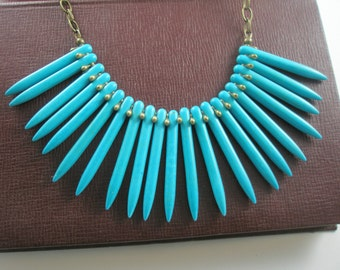 Turquoise Spikes Bib Necklace