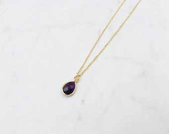 Purple Majesty Necklace - Simple Minimalist Gold Plated Chain Necklace with Amethyst