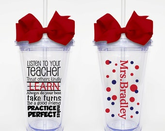 Teacher Rules - Acrylic Tumbler Personalized Cup