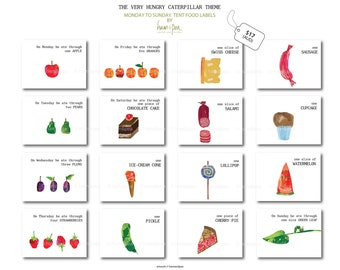 Caterpillar Inspired tent food Labels (Monday to Sunday) Printable file
