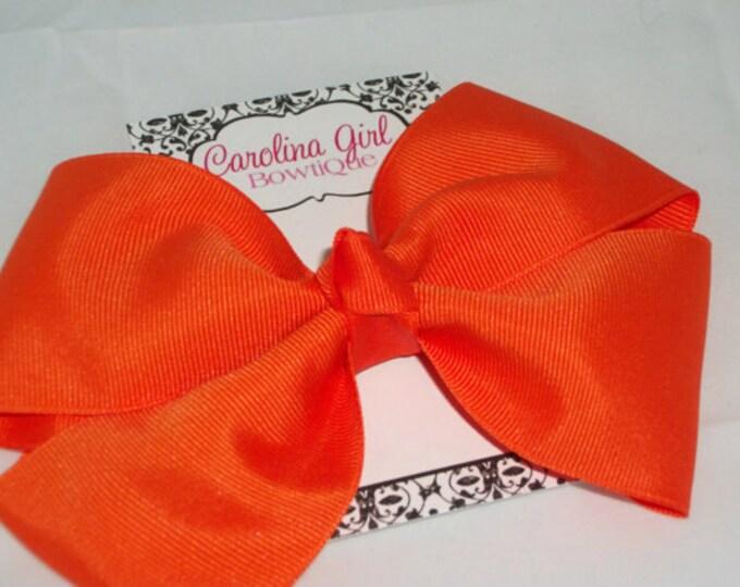 6 in. Orange Hair Bow - XL Hair Bow - Big Hair Bows - Girl Hair Bows