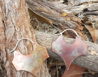 Tribal Sterling silver and copper etched earrings.