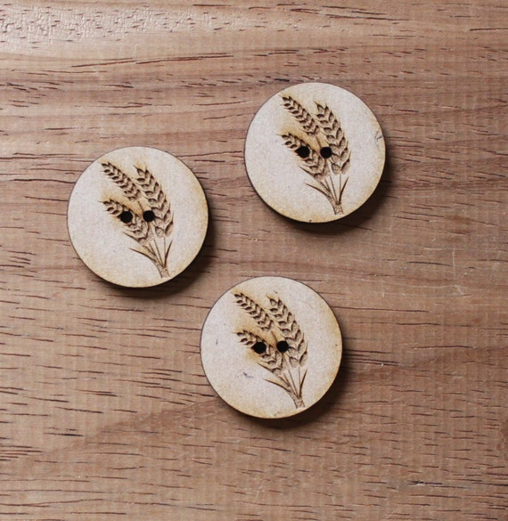 8 pieces.Wheat Farmyard.Round Buttons,3 cm Buttons -Acrylic and Wood Laser Cut-Jewellery Supplies-Little Laser Lab Wood and Acrylic Products