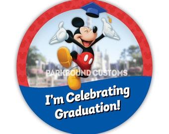 "Custom 3"" ""I'm Celebrating Graduation"" Buttons with Mickey"