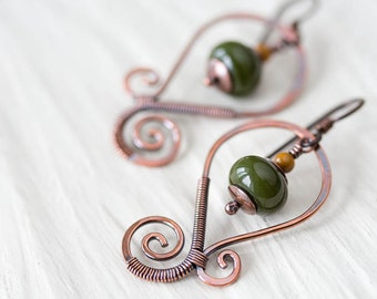 Moss green earrings, oxidized hand forged copper earrings, olive green lampwork bead earrings