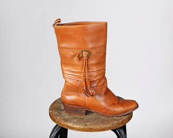 Vintage Chestnut Leather Tassle Boots - Buckle Western Tall Boot Stitching Detail Heel Heeled Cowgirl 9 West Mid Calf Casual- Size 8