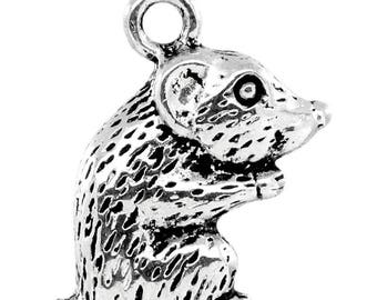 x 1 mouse or rat 17 mm silver pendant charm.