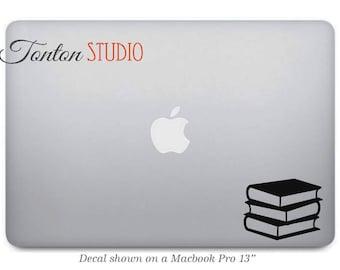 Books Macbook Sticker - Library Books Decal Sticker - Reader's Vinyl Decal Macbook Air Pro Laptop Notebook  - G073