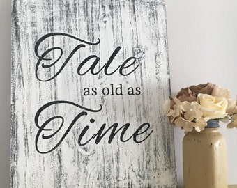 Tale as Old as Time, Disney wedding sign, Disney Sign, wedding gift, vintage sign, Wedding welcome sign, bridal shower gift, beauty and the
