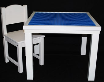 white LEGO Table with Chair